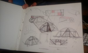 Pete's sketches for the entrance design