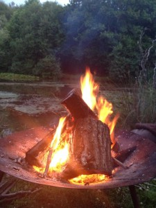 An example of making a fire by the lake to help us connect with the element